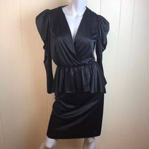 Vintage 70s/80s Black Wiggle Faux Wrap Dress